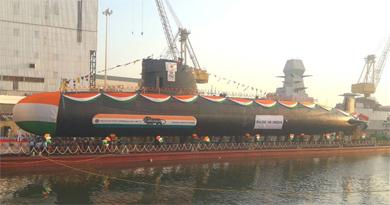 Submarine Karanj constructed by Mazagon Dock Shipbuilders launched
