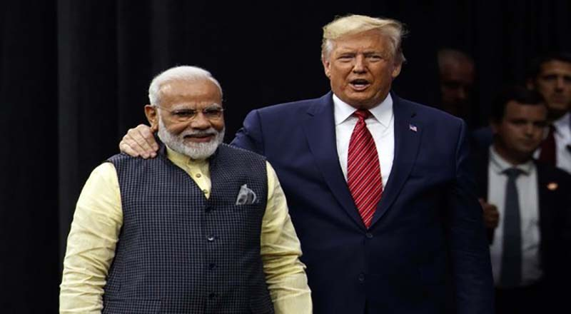"""Houston: President Donald Trump arrives to speak at the """"Howdy Modi: Shared Dreams, Bright Futures"""" event with Indian Prime Minister Narendra Modi at NRG Stadium, Sunday, Sept. 22, 2019, in Houston.AP/PTI  Photo(AP9_22_2019_000241B)"""